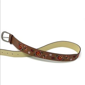 Accessories - Women's brown leather floral belt